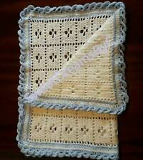 Handmade crocheted blue & white baby blanket suitable for pram, pushchair or car