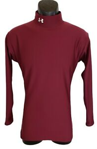 Under Armour Mens Shirt Size L Compression Mock Neck Red Embroidered Long Sleeve