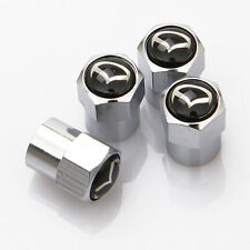 4 X Silber Chrom Reifen Ventil Staubkappen (Fits Mazda) - Schwarz