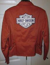 Harley Davidson Orange Cotton/Nylon Ladies Motorcycle Jacket #98146-03VW Small