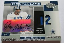 ROGER STAUBACH RARE 02 LEAF FABRIC OF THE GAME AUTO GAME WORN JERSEY CARD #3/12