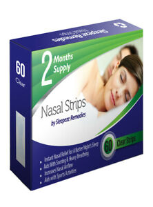 Sleepeze Remedies 60 Pack Clear Nasal Nose Strips Anti Snoring Stop Snoring