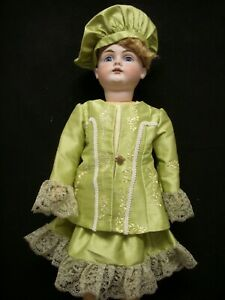 "Doll Dress – Embroidered Silk Dress for 22-23"" Antique Bisque Head Doll (D19)"