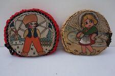 Vintage Set of 2 Little Dutch Girl BoyTraditional Dress Decorative Round Pillows