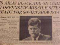 VINTAGE NEWSPAPER HEADLINE~PRESIDENT KENNEDY JFK CUBA SOVIET MISSILE CRISIS 1962