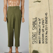 Small 1950s Green Military Pants Vtg Tapered Leg Pockets Mens Field Trousers