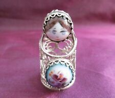 LOVELY VINTAGE RUSSIAN SILVER FILIGREE & PORCELAIN THIMBLE