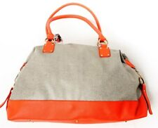NEW Hand Made Bragbags Two-Tone Pebble Large Overnight Bag Orange Women