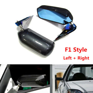 Racing Car Manual Adjustment Retro F1 Style Rear View Mirrors Carbon Fiber Look
