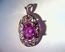14K WHITE GOLD FILIGREE PENDANT, 1.75 CT NATURAL OVAL PINK TOURMALINE