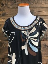 BCBG MAX AZRIA XS Casual Shift Dress Cap Sleeves Blue, White, Brown Floral