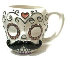 Sugar Skull Handlebar Mustache Mug Coffee Tea Cup Day of the Dead Halloween
