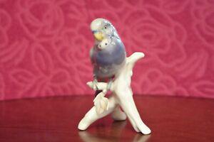 VINTAGE Porcelain Karl Ens Blue Budgerigar Unboxed, with restored tail.