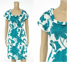 ex White Stuff Floral Print Turquoise Blue Casual Tea Dress