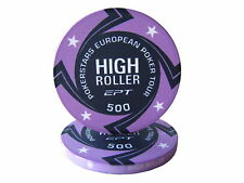Blister da 25 fiches EPT HIGH ROLLER Replica poker Ceramica 10 gr. valore 500