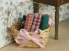 Dolls House Miniature 1/12th Scale Rolls of Fabric in a Basket