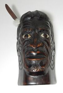 SIGNED HARD WOOD CARVED NEW ZEALAND MOTHER PEARL TRIBAL HEAD MASK STATUE 10.5""