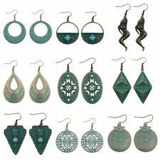 2017 Women's Vintage Fashion Cooper Green Rust Alloy Carved Drop/Dangle Earrings