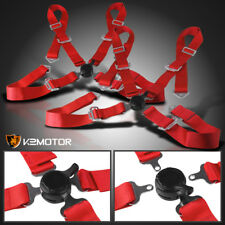 X2 Universal JDM Red 4 Point Camlock Racing Seat Belts Safety Harness Pair