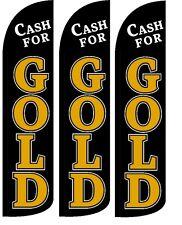 Cash For Gold Windless Standard Size Swooper Flag Sign Banner Pk Of 3