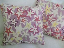 """STARFLOWERS  BY ARTHUR SANDERSON 1 PAIR OF 18"""" CUSHION COVERS PIPED/ZIP OFF"""