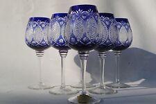 6 grands Verres Vin / Roemer / Römer en Cristal Couleur Taillé Overlay Bleu