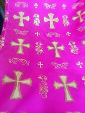 Hot Pink and Gold Metallic Clergy Brocade