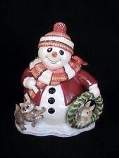 Fitz & Floyd Essentials Woodland Snowman Figural Christmas Cookie Jar