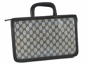 Authentic GUCCI 2Way Hand Clutch Bag GG PVC Leather Navy Blue D9852