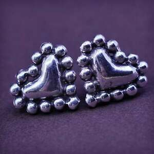 Vintage Sterling silver handmade studs, 925 heart earrings with beads