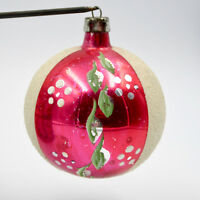 Christmas Ornament Blown Glass Pink White Mica Sections Poland Vintage