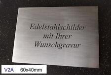 EDELSTAHLSCHILD V2A 60x40mm - als Türschild / Typenschild - mit WUNSCHGRAVUR