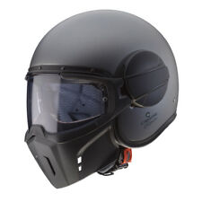 CASCO JET VINTAGE CABERG GHOST MATT GUN METAL + MASK TAGLIA XL