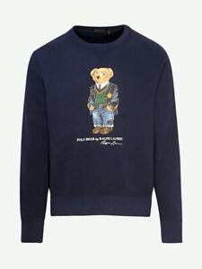 BNWT Polo Ralph Lauren Men's Bear Long Sleeve Sweatshirt French Navy 521869 FAB