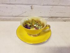 Hinode China Cup with Rossetti Saucer with Yellow Paint and Fruit Decorations