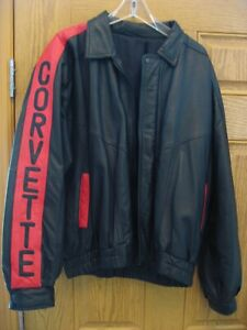 Vintage Men's 90's Leather Corvette Jacket - Corvette down both Sleeves and Back