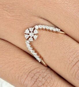 DAISY CLUSTER ENGAGEMENT WEDDING WAVE RING 14K ROSE GOLD PLATED 1.55 CT DIAMOND