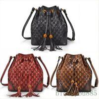 Women Vintage Luxury Tassel Bucket Handbag Original Messenger Shoulder Bag Red