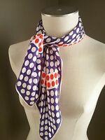 "vera neumann vintage blue red white polka dot scarf circles lucky ladybug 25"" sq"