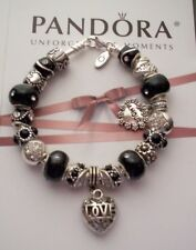 Authentic Pandora Sterling Silver Bracelet with European Style Charms Black/Silv
