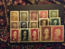 Evita Peron, Argentina 1952, 15 different stamps used, 1 ct mint