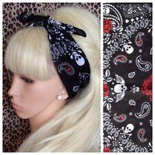 Negro Paisley Cráneo Crossbone Rojo Rosa Impresión De Algodón Bandana Cabeza Cabello Bufanda De Cuello