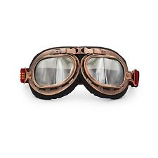 Copper Motorcycle Goggles Glasses Eyewear WWII RAF VINTAGE PILOT Chrome Lens US
