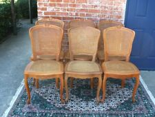 Set of  6 French Antique Louis XV Walnut With  Cane Dining Chairs