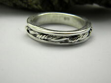 sterling silver men's ring braided band solid silver oxidized ring size 10.5
