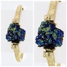 D10 Druzy Metallic Iridescent Textured Metal Open Bangle Bracelet