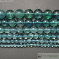 Grade AAA Natural Blue Fluorite Gemstone Round Beads 4mm 6mm 8mm 10mm 12mm 15.5""