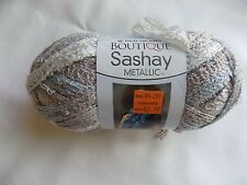 Opal Red Heart Boutique Sashay Metallic Ruffle Scarf Yarn 3.5 OZ Silver White
