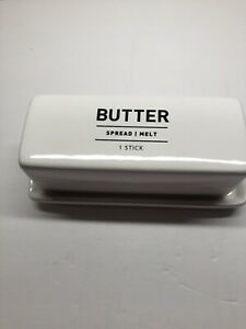 West Elm Utility Butter Dish Stoneware White and Black
