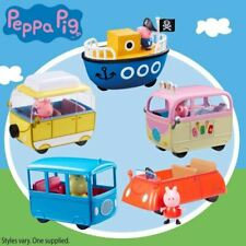 PEPPA PIG VEHICLE & FIGURE - PEPPA'S RED CAR SCHOOL BUS CAMPERVAN POLICE BOAT